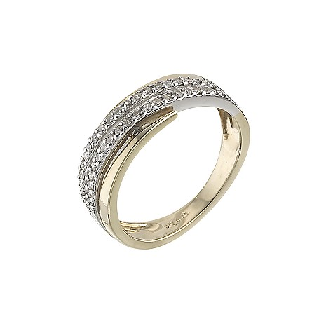 9ct gold two colour 0.25 carat diamond set ring