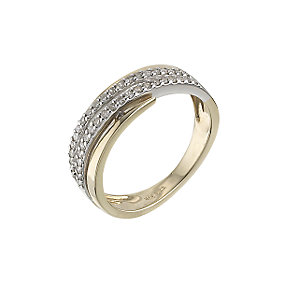 9ct gold two colour 1/4 carat diamond set ring - Product number 6763421
