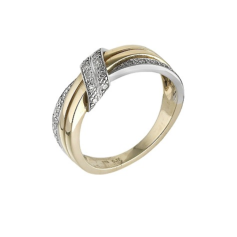 9ct gold two colour 15 point diamond ring
