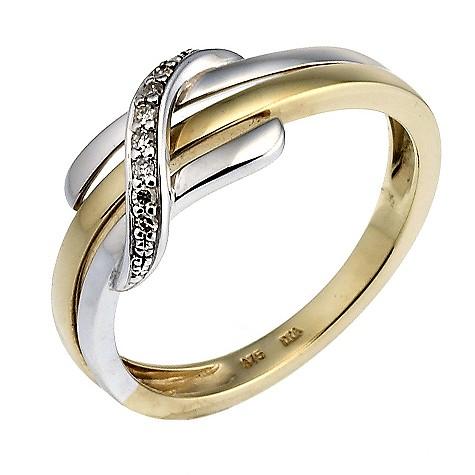 9ct white and yellow gold diamond ring