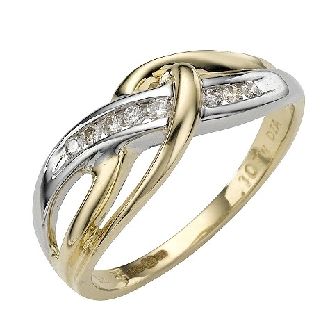 9ct two-colour gold diamond ring