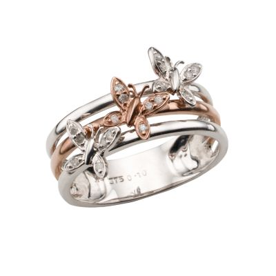 9ct white and rose gold diamond butterfly ring All Brands