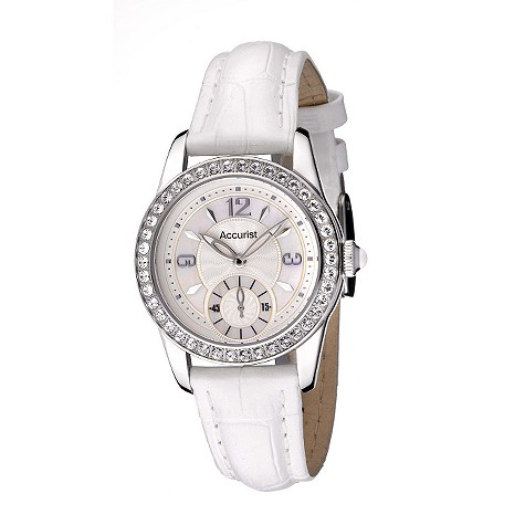 Accurist ladies stone set white leather strap product image