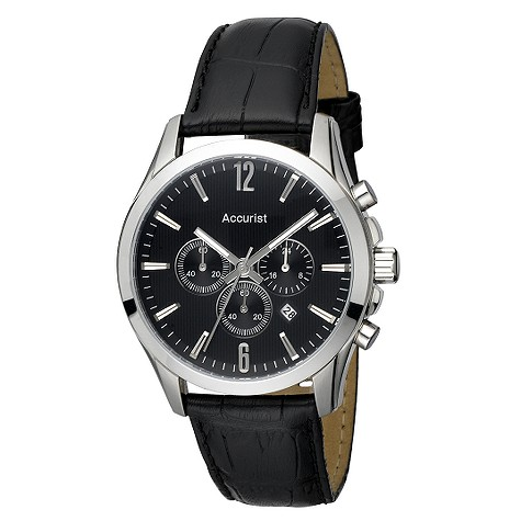 accurist mens black leather strap chronograph product image