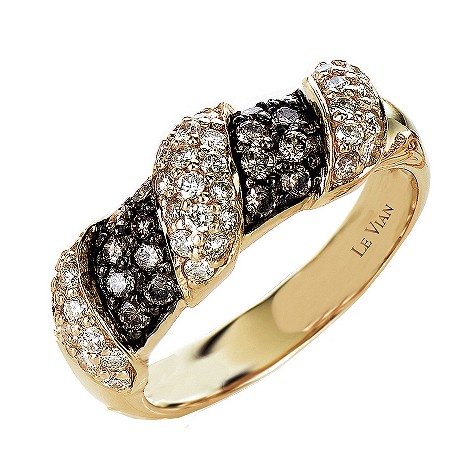 Le Vian 72pt Chocolate white diamond 14ct gold ring