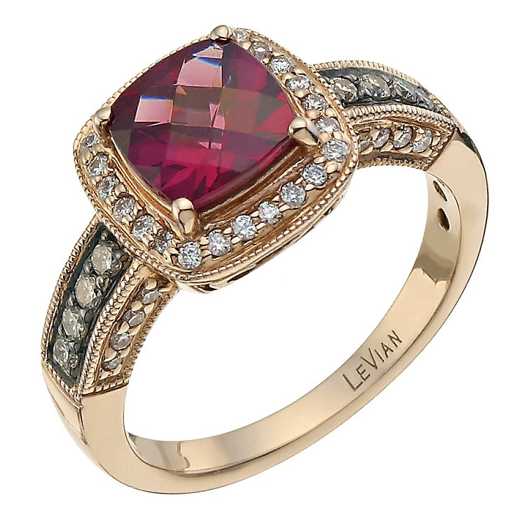 Le Vian 14ct Strawberry Gold 0.33ct diamond & rhodolite ring - Product number 6784747