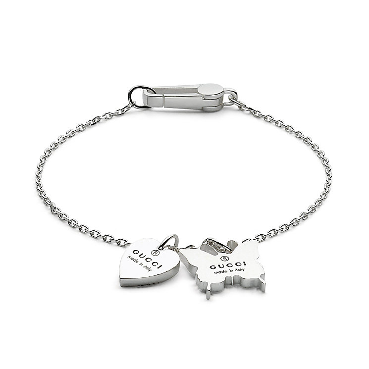 Gucci sterling silver heart & butterfly charm bracelet 17cm - Product number 6793363