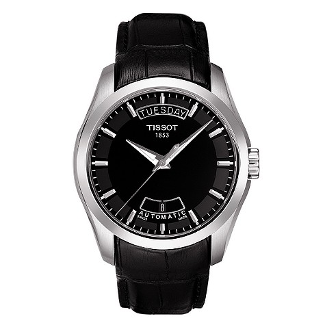 Tissot Couturier mens black dial strap watch product image