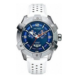 Nautica men'sblue dial stainless steel white strap watch - Product number 6813593