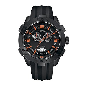 Nautica NST 100 men's black dial chronograph strap watch - Product number 6813658