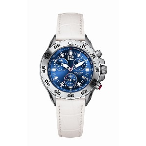Nautica NST ladies' blue dial chronograph white strap watch - Product number 6813674