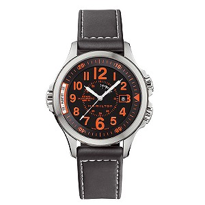 Hamilton men's Khaki Automatic black leather strap watch - Product number 6818455