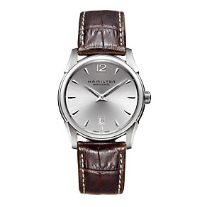 Hamilton Jazzmaster men's brown leather strap watch - Product number 6818498