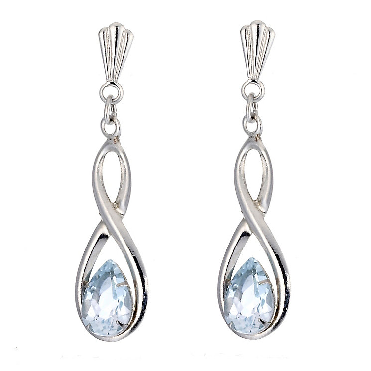 9ct White Gold Blue Topaz Figure of Eight Earrings - Product number 6836909