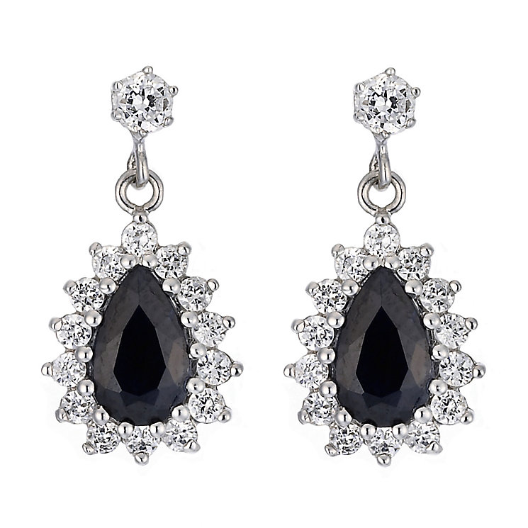 9ct White Gold Cubic Zirconia Sapphire Earrings - Product number 6837093