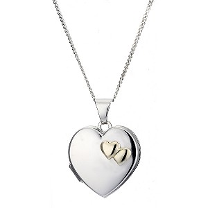 9ct Yellow Gold and Silver Double Heart Locket 18mm