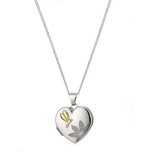 9ct Yellow Gold and Silver Floral Locket