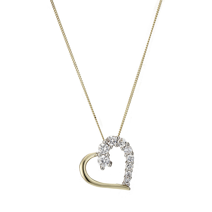 9ct Gold and Silver Cubic Zirconia Love Heart Pendant - Product number 6838480