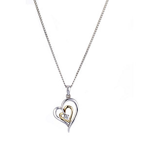 "9ct Yellow Gold Silver Cubic Zirconia Heart Pendant 16"" - Product number 6838561"