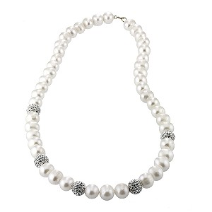 9ct Gold Cultured Freshwater Pearl Cubic Zirconia Necklace
