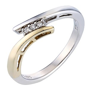 Duet 9ct Yellow Gold and Sterling Silver Ring - Medium