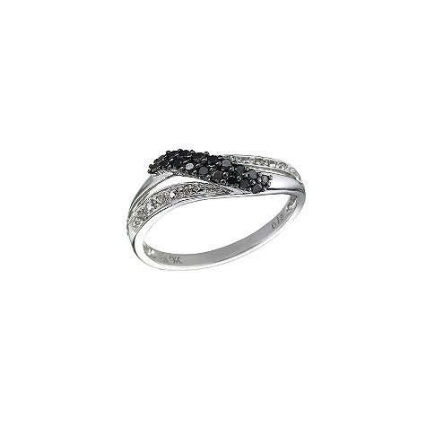 9ct white gold black and white diamond ring