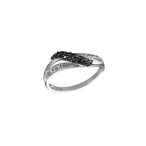 9ct white gold white & treated black diamond ring - Product number 6841414