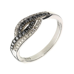 9ct white gold 1/4 carat white & treated black diamond ring - Product number 6841554