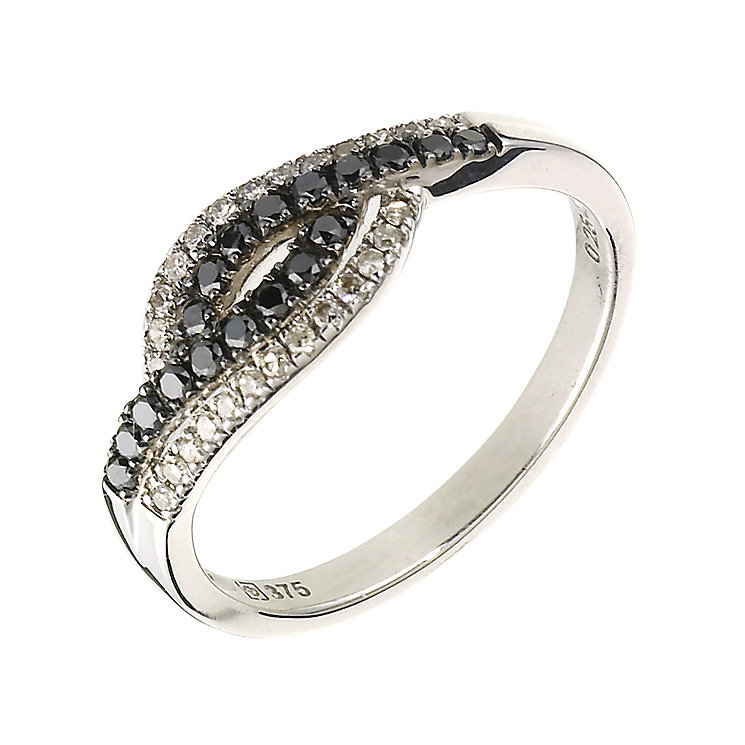9ct white gold 0.25ct white & treated black diamond ring - Product number 6841554