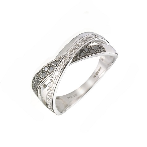 9ct white gold fifth carat black and white diamond ring