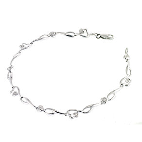9ct white gold & diamonds heart bracelet - Product number 6842143