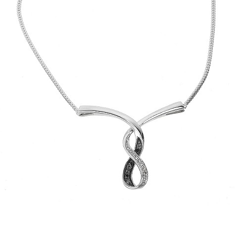9ct white gold black and white diamond necklace