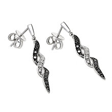 9ct white gold white & treated black diamond drop earrings - Product number 6842305