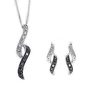 9ct white gold white & treated black diamond jewellery set - Product number 6842313