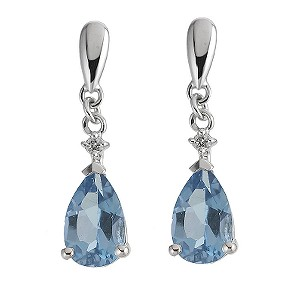 9ct white gold diamond and blue topaz earrings - Product number 6842372