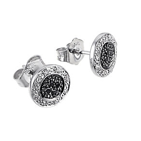 9ct white gold white & treated black diamond round earrings - Product number 6842380