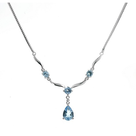 9ct white gold necklace with 4 blue topaz stones