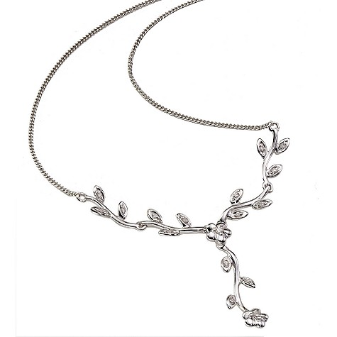 9ct white gold diamond flower necklace