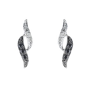 9ct white gold white & black treated diamond earrings - Product number 6842941