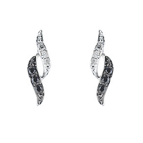 9ct white gold white & treated black diamond earrings - Product number 6842941