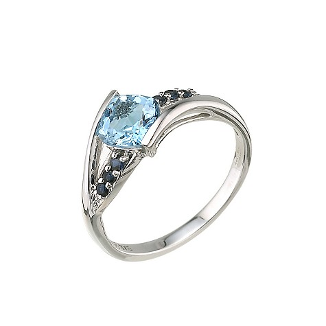 9ct white gold blue topaz blue sapphire ring
