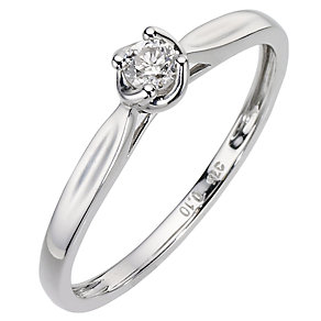 9ct White Gold Diamond Solitaire Ring - Product number 6845223