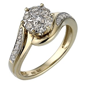 9ct Gold Half Carat Diamond Cluster Ring