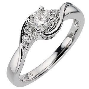 18ct White Gold Half Carat Diamond Solitaire Ring