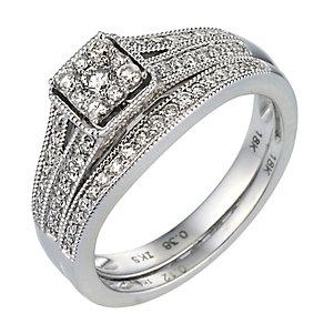 18ct White Gold Half Carat Diamond Bridal Set - Product number 6848532