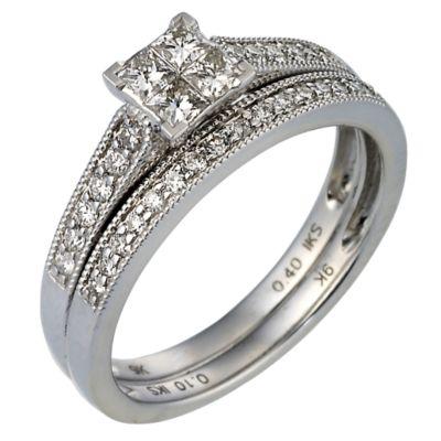 9ct White Gold Half Carat Diamond Bridal Set HSamuel
