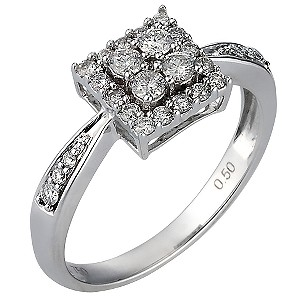 18ct White Gold Three Quarter Carat Diamond Set Ring