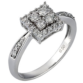 18ct White Gold Three Quarter Carat Diamond Set Ring - Product number 6849733