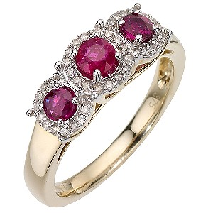 9ct Yellow Gold and Rhodium Diamond and Treated Ruby Ring