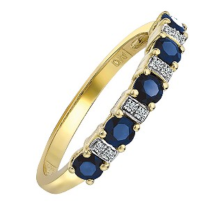9ct Yellow Gold Rhodium Plated Sapphire and Diamond Ring